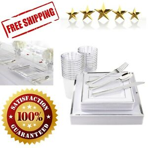 150 Pieces Silver Square Plates Disposable Silverware Dinnerware Wedding Party