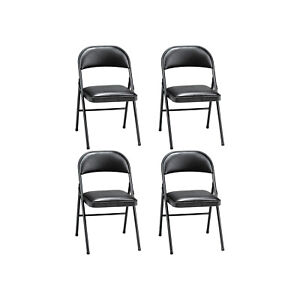 Meco 4 pack Of Deluxe Vinyl Padded Folding Chairs With 16 X 16 Inch Seat Black