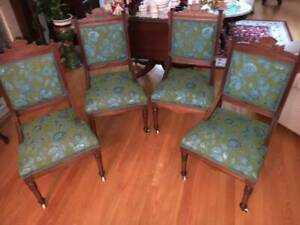 4 Matching Vintage Antique Carved Victorian East Lake Walnut Side Chairs Parlor