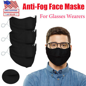 Face Mask Anti fog Adjusted Buckle Protective For Glasses Wearers Washable Adult
