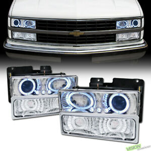 Chrome Led Halo Projector Headlight bumper Yd For 88 00 Chevy C10 Tahoe suburban