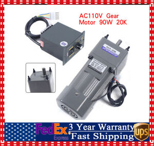 90w 110v Gear Motor Electric Variable Speed Controller Torque Large 1 5 270rpm
