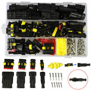 408pcs Waterproof Connectors 1 2 3 4 Pin Car Electrical Wire Connector Plug Sets