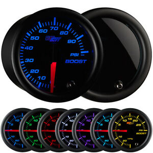 52mm Glowshift Tinted 7 Color 100 Psi Boost Gauge Kit