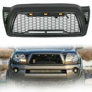 Front Grille For Toyota Tacoma 2005 2011 Honeycomb Hood Grill W Led Lights Abs