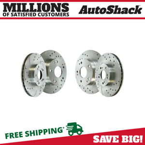 Front Rear Drilled Slotted Disc Brake Rotors Set Of 4 For Honda Civic 2 4l