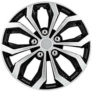 Set Of 4 Car Wheel Cover 17 Inch Fits All Vehicle Black Silver Spider Design