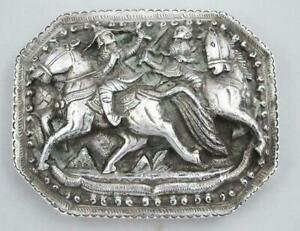 Stunning Indian Silver Box Beautiful Antique Box With Military Scene On Lid 1880