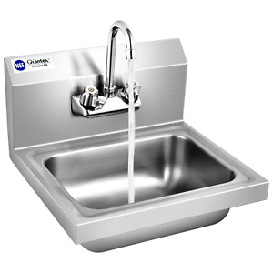 Stainless Steel Sink Nsf Wall Mount Hand Washing Sink With Faucet Back Splash