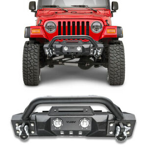 Fits 97 06 Jeep Wrangler Tj Front Bumper Textured Black W Winch Plate d rings