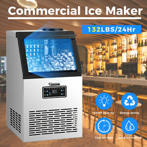 Anbull Commercial Ice Maker Machine 132lbs Large Storage Under Counter Quiet New