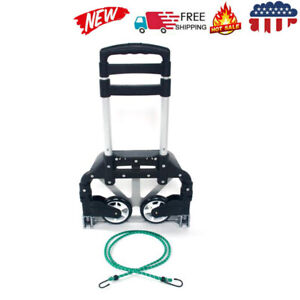 Portable Cart Folding Dolly Push Truck Hand Collapsible Trolley Luggage Black Us