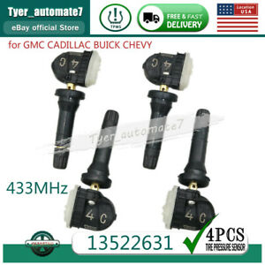 New 433mhz Set Of 4 Tire Pressure Sensor Tpms For Gm Buick Chevy Gmc 13522631