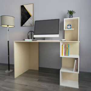 Home Office Rotating Computer Desk Workstation Study Pc Table W storage Shelves