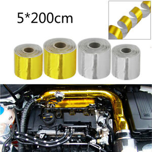 2 Roll Gold Exhaust Thermal Wrap Manifold Header Isolation Heat Tape 5 200cm