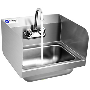 Stainless Steel Sink Nsf Wall Mount Hand Washing Sink With Faucet Side Splash