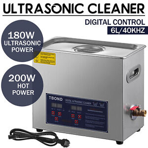 Commercial 6l Ultrasonic Cleaner Heated W timer Stainless Steel Jewelry Glasses