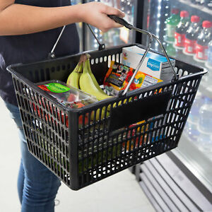 Plastic Grocery Convenience Store Shopping Basket Tote Stackable Black 12 Pack