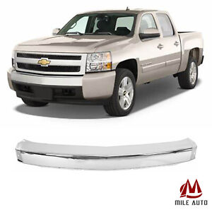 New Chrome Steel Front Bumper Impact Face Bar For 2007 2013 Chevy Silverado 1500