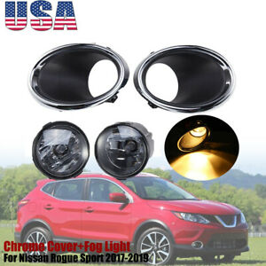 Fog Light Lamp W Bulbs Chrome Cover For Nissan Rogue Sport 17 2018 19 Bracket