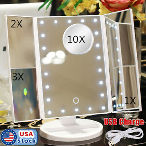 Tri Fold Vanity Makeup Mirror 22 Led Lighted 10x Magnifying Folding Cosmetic