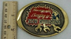 Vintage Snap On Charging To New Horizons Brass Belt Buckle 1970s Ssx 1410 Bts
