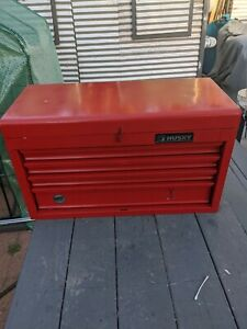 Red Metal Husky 4 Drawer Toolbox Cabinet W top Lid And Partial Set Of Tools