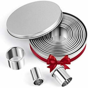Round Cookie Cutters 14 Pcs 18 8 304 Stainless Steel Pastry Set And Dough Plain