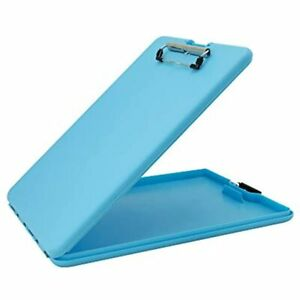 Saunders Sky Blue Slimmate Plastic Storage Clipboard With Low Profile Portable