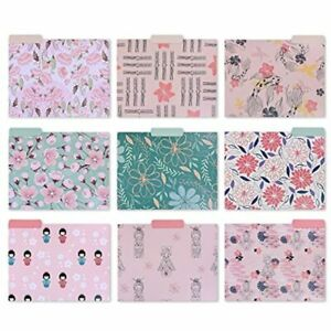 Decorative File Folders Set 9 X 11 5 Inch Letter Size Colored Cute Pattern Of