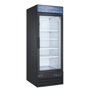 1 Door Reach In Glass Cooler 23 Cubic Ft With Led Lights New