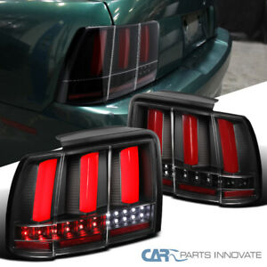 For 99 04 Ford Mustang Black Tail Lights W Red Rear Led Bar Sequential Signal