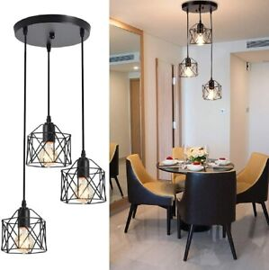3 Lights Chandelier Industrial Hanging Pendant Lamp Ceiling Fixture Island Caged