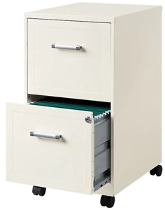 Hirsh Industries 2 Drawer Vertical Mobile File Cabinet Pearl White Letter Size