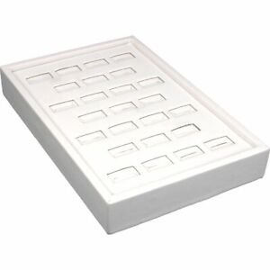 White Faux Leather 25 Slot Ring Jewelry Display Tray Case 5 X 7 1 2