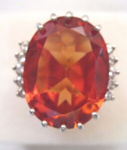 VINTAGE STERLING SILVER OVAL ORANGE STONE CLEAR RHINESTONES RING SIZE 7 1 2 $22.00