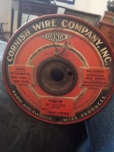 Vintage Cornish Wire Cloth Radio Electric Spool 18 2 Twisted Cotton
