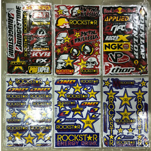 6 X New Rockstar Energy Motocycle Bike Racing Graphic Stickers decal