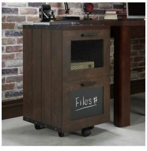 Furniture Of America Rustic New Wood Walnut 2 Drawer File Cabinet Storage Mobile
