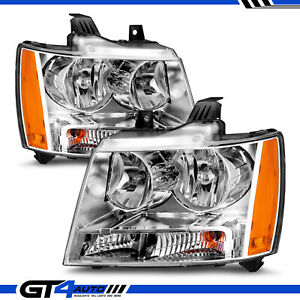 For 07 14 Chevy Subarban Tahoe Avalanche Chrome And Amber Corner Headlight Pair