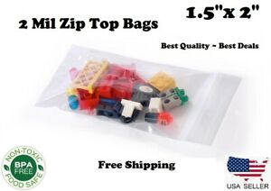1 5 x2 Zip Top Bags Clear 2 Mil Plastic Resealable Lock 2mil Small Mini Baggies