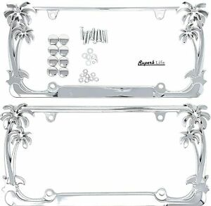 Tropical Palm Tree Chrome Polished License Plate Frame 2 Frames With Theft det