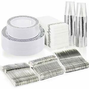 Bucla 350pcs Silver Plastic Plates With Disposable Plastic Silverware hand Lace