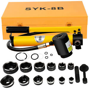 Syk 8b Hydraulic Knockout Punch Hole Driver Kit Complete Tool Set With 6 Dies