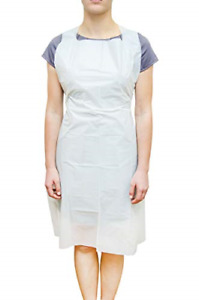 100 Pack White Pe Aprons 28 X 46 Inches 2 Mil Disposable Polyethylene Aprons