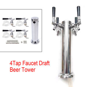 New Stainless Steel Four tap Faucet Draft Beer Tower Homebrew Bar For Kegerator