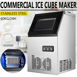 132lb Ice Maker Ice Cube Making Machine 60kg 24hrs Stainless Steel Undercounter