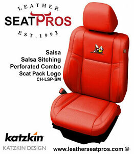 Leather Seat Covers 2015 2021 Dodge Charger Salsa Red Scat Pack Logo Perfed