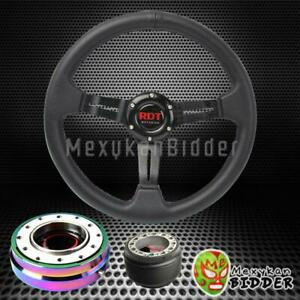 Black Deep Dish Steering Wheel Neo Chrome Quick Release For Acura Cl Rsx Tl
