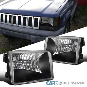 For 93 98 Jeep Grand Cherokee Suv Matte Black Headlights Lamps Left right Pair